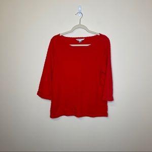 Pendleton Red Sleeved Embossed Blouse